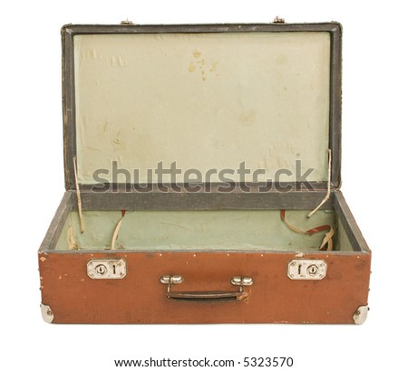 Old Suitcase opene, isolated [with clipping path] - stock photo