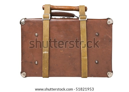 old suitcase tied with a belt Isolated on white background - stock photo