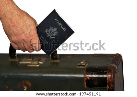 old suitcase traveling from usa with passport isolated on white with clipping path - stock photo
