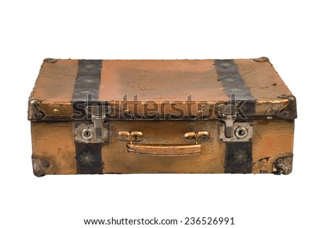Old suitcase. Vintage style. isolated on a white background - stock photo