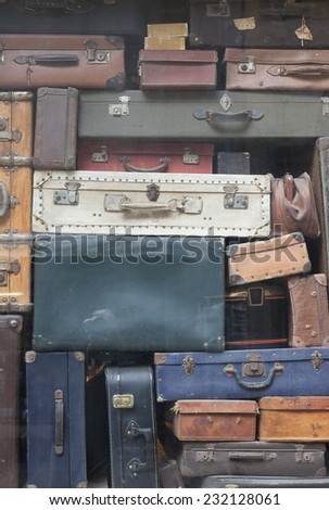 Old Suitcases - Saint Malo, Brittany, France - stock photo