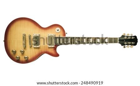 Old sunburst electric guitar isolated on white background - stock photo