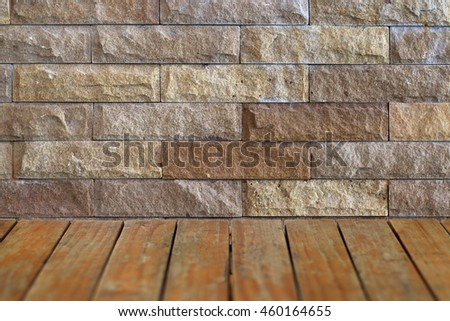 old surface of table top with stone wall background,promote, show,advertising goods product stuff banner template on display montage