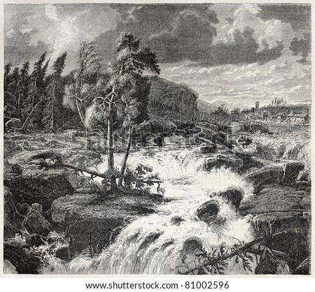 Old Swedish landscape: waterfalls in storm beginning. Created by Larson,  published on L'Illustration, Journal Universel, Paris, 1857
