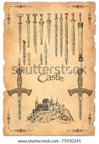 Old swords illustration - stock photo