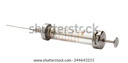 Old syringe isolated on white. Clipping path . - stock photo