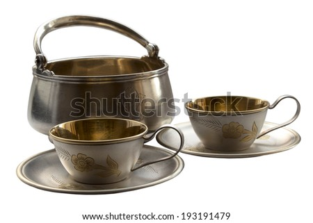 Old tableware isolated on white background - stock photo