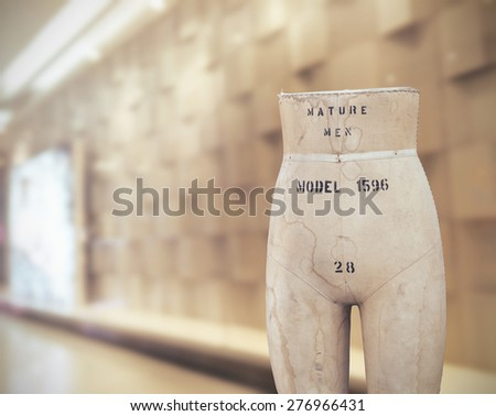 Old Tailors dummy, Mannequins vintage in showroom, Vintage color tone style - stock photo