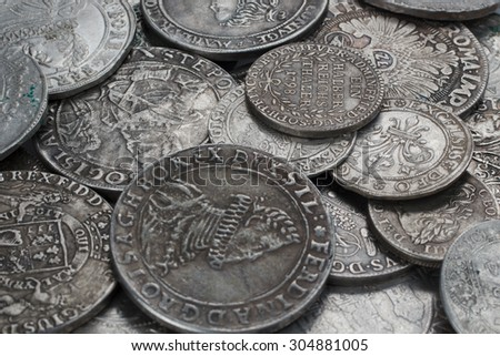 old taler silver coins background - stock photo