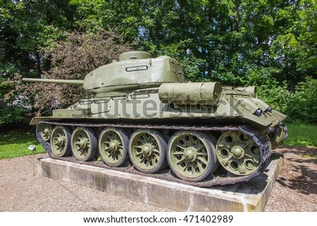 Old tank T-54 in front of the museum in Dukla in Poland
