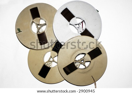 Old tapes on white background - stock photo