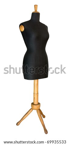 old taylor's dummy, vintage mannequin for dressmaker workshop, retro tool to make clothing, ancient wooden manikin isolated with clipping path - stock photo