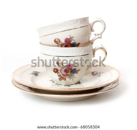 Old tea cup - stock photo