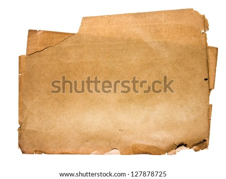 Old tear paper isolated on white background