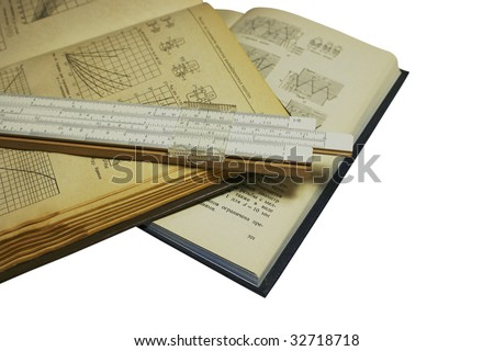 Old technical books isolated - stock photo