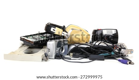Old technology isolated on white - stock photo