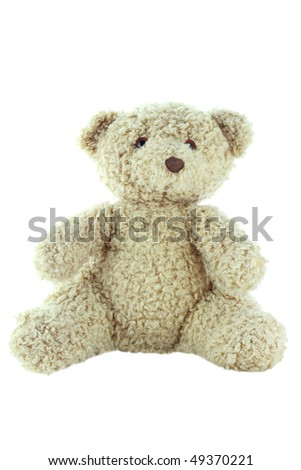 Old teddy bear isolated on a white background with clipping path. - stock photo