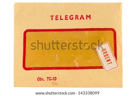Old telegram envelope with urgent mark  - stock photo
