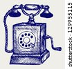 Old telephone. Doodle style. Raster version - stock vector