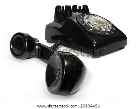 Old telephone in black color.