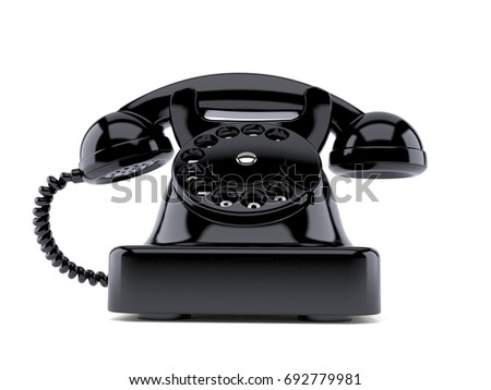 Old telephone isolated on white background. 3d illustration