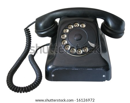 Old telephone isolated over white background