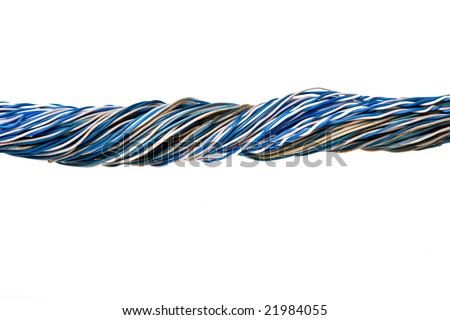 Old telephone wires.Isolated. - stock photo