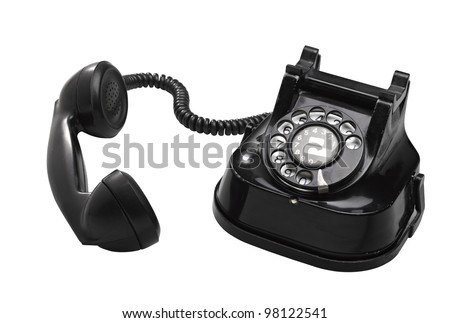 Old telephone with rotary dial ( clipping path )