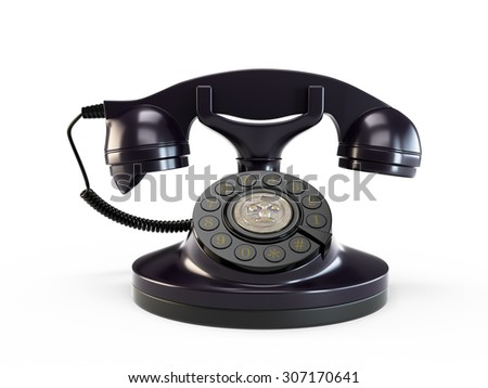 Old telephone with rotary dial isolated on white background - stock photo