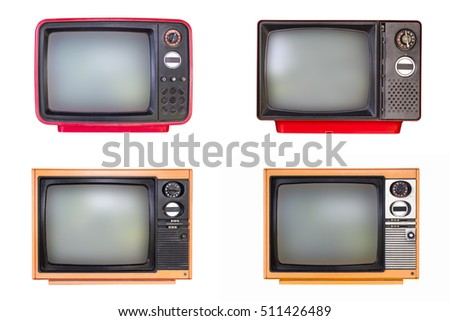 Old television collection isolated on white background