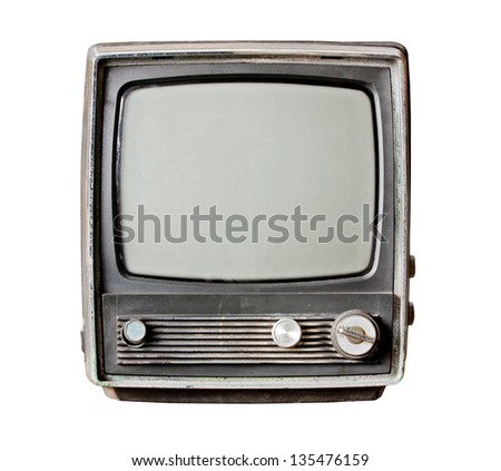 Old television isolate on white - stock photo