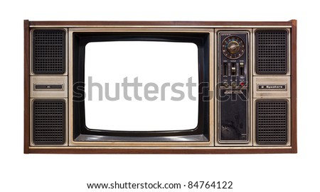 old television isolated - stock photo
