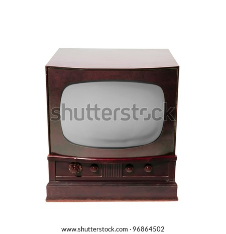 old television on a white background