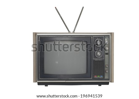 Old television on white background.