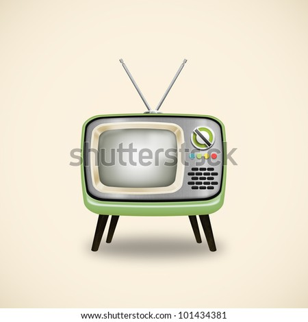 old television ,retro and vintage style - stock photo