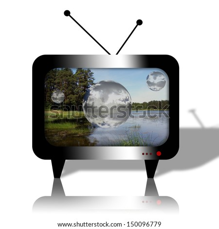old television set with antenna with a picture of the landscape - stock photo