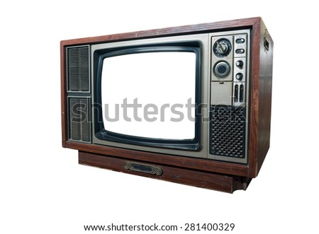 old television vitage on white background isolated