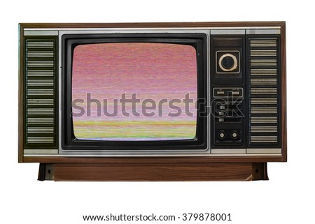 Old television with error on screen isolate on white background - stock photo