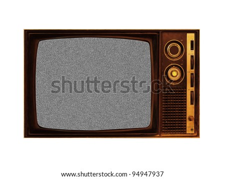 Old television with noise on white - stock photo