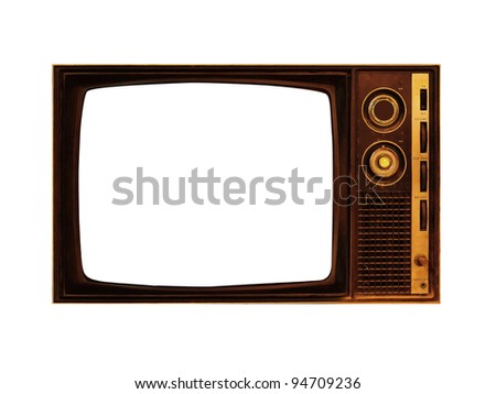 Old television with screen clipping paths - stock photo