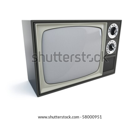 old televisor isolated on a white background - stock photo
