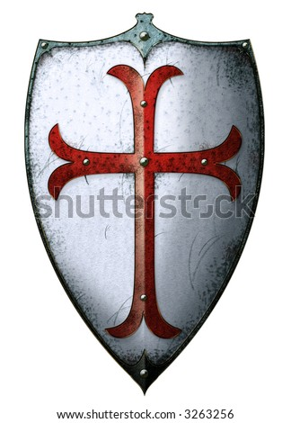 Old templar shield with red cross - stock photo