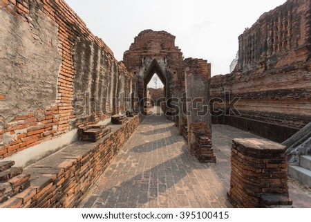 Old Temple Architecture , Wat Na Khon Luang at Ayutthaya, Thailand, World Heritage Site - stock photo