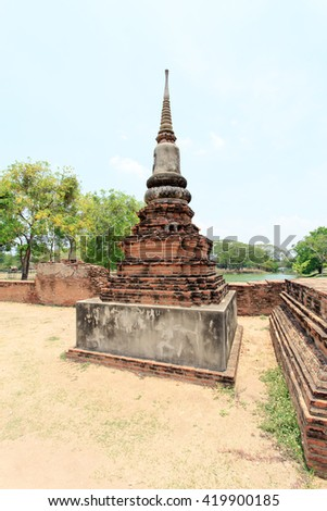 old temple    artistic combination of sukhothai     in the part of stupa  Royal  sermon hall    royal vihara   brick and mortar building    pagoda    main prang