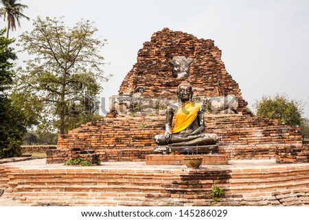 Old Temple of Ayutthaya - stock photo