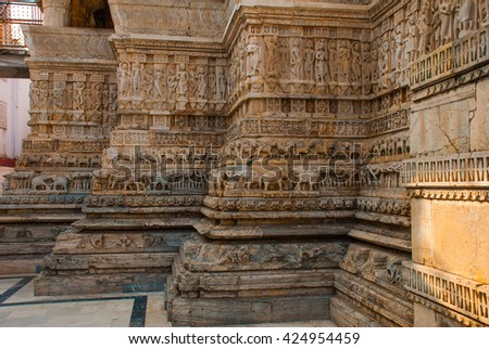 Old temple. Udaipur, India - stock photo