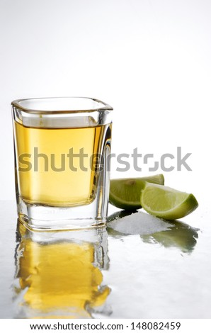 old tequila shot with salt and lime