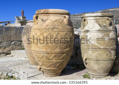 Old terracotta jars in the palace of Knossos, Greece