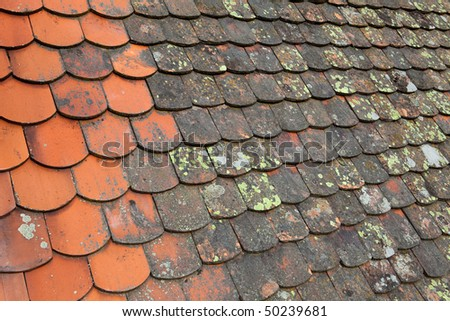 Old terracotta roof - stock photo