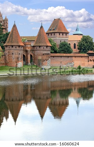 Old teutonic castle in Poland, Malbork, Gothic style.